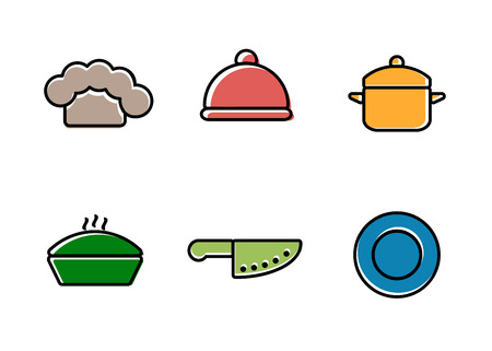 utensil: Vector kitchen, restaurant and culinary icons. Chef cap, cloche, pan, knife and plate
