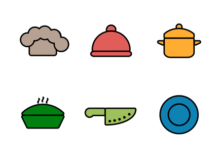 culinary: Vector kitchen, restaurant and culinary icons. Chef cap, cloche, pan, knife and plate