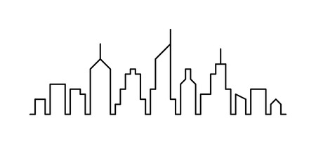 Line sketch cityscape design. Abstract black background