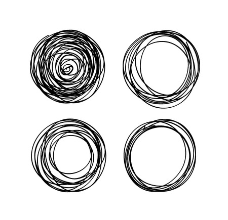 hand-drawn scribble circles abstract doodle set for your design Illustration