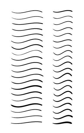 Ensemble de dessins vectoriels à lignes ondulées dessinées à la main Vecteurs