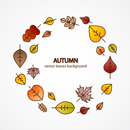 fall leaves background: Vector nice modern fall leaves autumn decorative background banner design