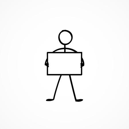 Stok figuur met een leeg bord Vector Illustratie