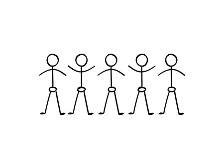 Vector stick figure people holding hands in a line