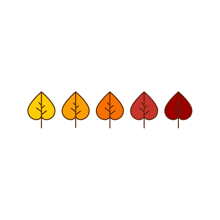 red leaves: Vector autumn leaves icons background in yellow and red