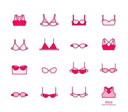 strapless: Vector ladies pink bra icons set. Clean line art
