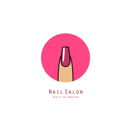 Pink square nail on a finger. Beauty salon icon Vectores