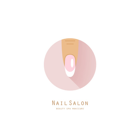 spa salon: Healthy finger with french manicure. Beauty salon spa icon