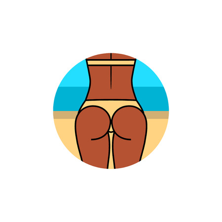 Healthy tanned fit woman and back in a swimsuit on the beach. Sport, fitness go squat.