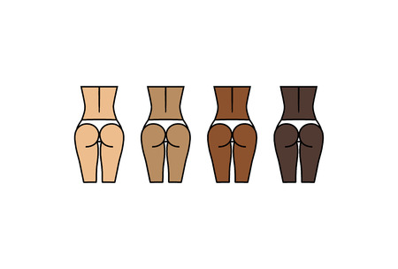 hot girl legs: Healthy woman  and backs. Different skin colors. Sport, fitness go squat and glute bridge Illustration