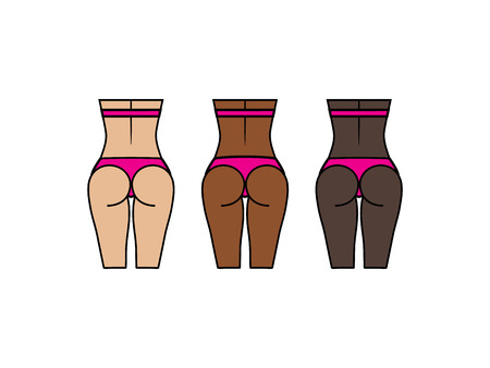 Healthy woman and backs. Different skin colors. Sport, fitness go squat and glute bridge