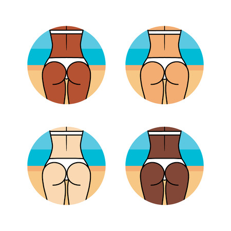 Healthy woman on the beach. Different skin colors. Sport, fitness go squat Illustration