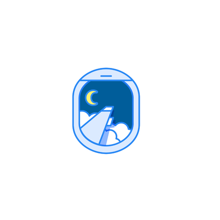 window view: Night flight icon. Airplane window view with wing, moon and clouds. Modern design Illustration