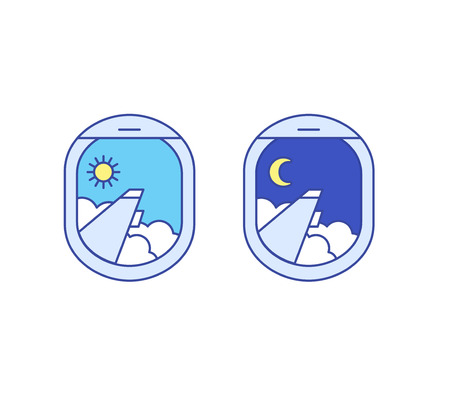 jet plane: day and night airplane window views. Sun, moon, clouds Illustration