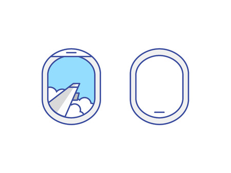 airplane: Closed and open airplane window icons set. Sky with clouds and wing