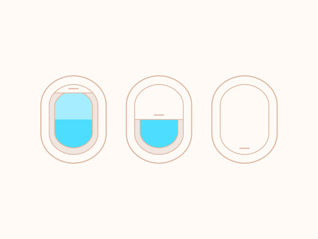 open window: Open and closed airplane window icons set