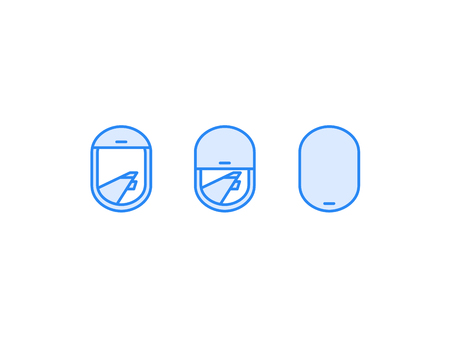 looking through an object: airplane window view icon. Wing in sky. Transportation holiday vacation design