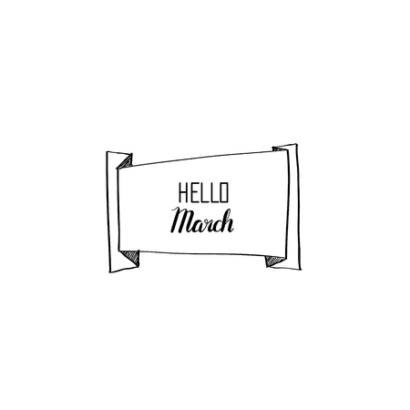 hey: Origami banner Hello March vector calligraphy