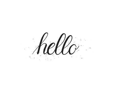 hey: Vector hand-written calligraphy hello word with ink dots imitation Illustration
