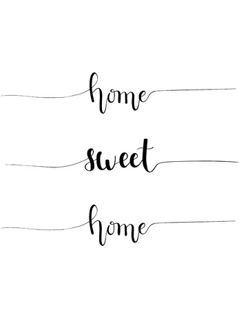 homely: Vector hand-drawn home sweet home proverb calligraphy design for interior house decoration.