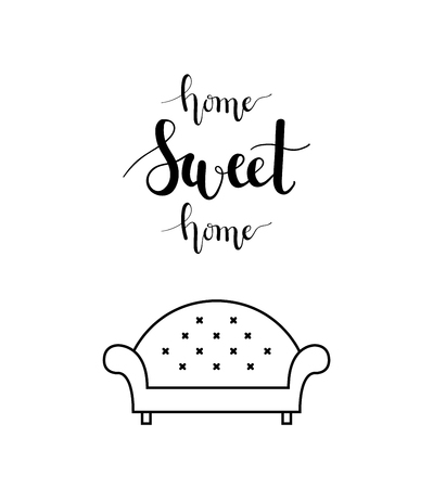 Home sweet home lettering in a living room.