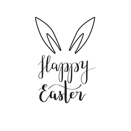 happy: Happy Easter rabbit ear calligraphy