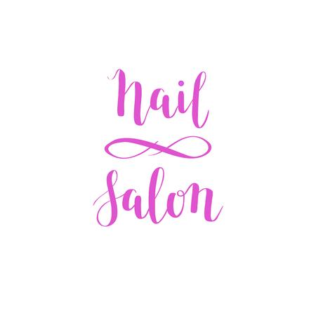 Met de hand getekende vector nagel salon lettering ontwerp. Kalligrafie logo illustratie