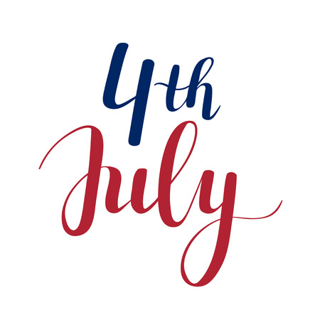 A Vector calligraphy 4th of July celebration icons design.