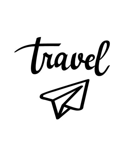 Ícone de avião de papel de viagem. Vector caligrafia ilustração inspiradora.