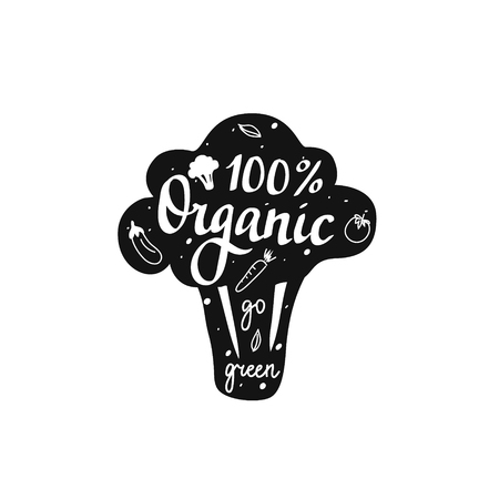 Vector 100 organic go green lettering broccoli badge design illustration.