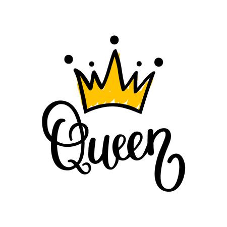 Queen crown calligraphy design illustration. Vettoriali