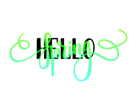 Hello Spring vector lettering design layout. Seasonal greetings, happy time Illustration