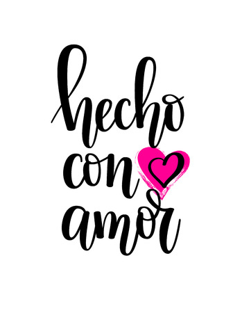 Hecho con amor made with love Spanish lettering calligraphy design Stock Illustratie