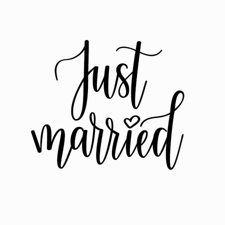 Just married vector romantic wedding calligraphy. Clip art poster invitation sticker home decoration mug design