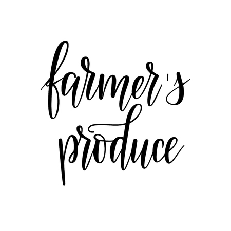 Farmers produce locally grown food lettering design