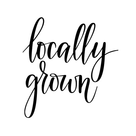 Locally grown vector lettering design for food package