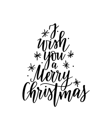 I wish you a Merry Christmas vector lettering holiday season postcard design