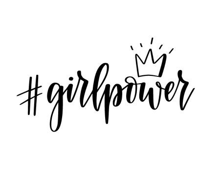 Girl power hashtag vector motivational feminist inspiration lettering for t-shirt and mug prints Reklamní fotografie - 126631644