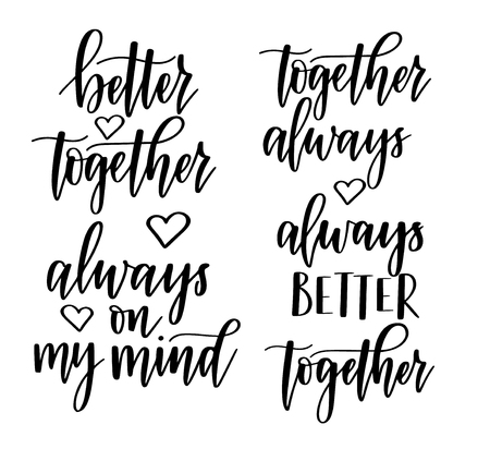 Always better together, on my mind vector romantic calligraphy design. Valentines day lettering Reklamní fotografie - 126419706