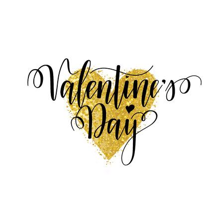 Valentines Day vector nice calligraphy design for cards, posters, ads. Modern lettering Reklamní fotografie - 125896198