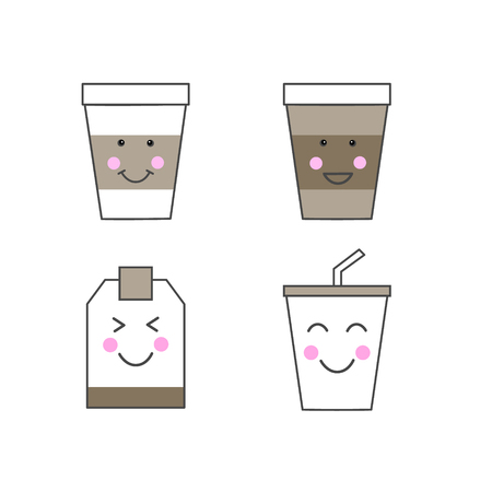 Set of kawaii drink icons. Paper cups and tea bag with cute smiling faces. Happy food Ilustrace