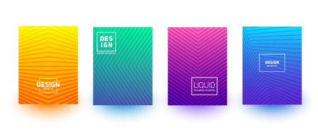 Minimal cover layout designs. Bright neon gradients. Abstract geometric backgrounds set