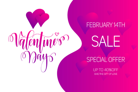 Valentines Day sale vector bright gradient layout. Pink calligraphy lettering design