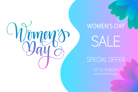 Happy international women's day march 8 vector calligraphy design for prints, posters, mugs, potcards, ads. Flower gradient outline Reklamní fotografie - 125209555