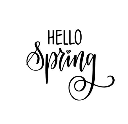 Hello spring vector seasonal greetings hand drawn modern calligraphy for posters, prints, mugs Ilustrace