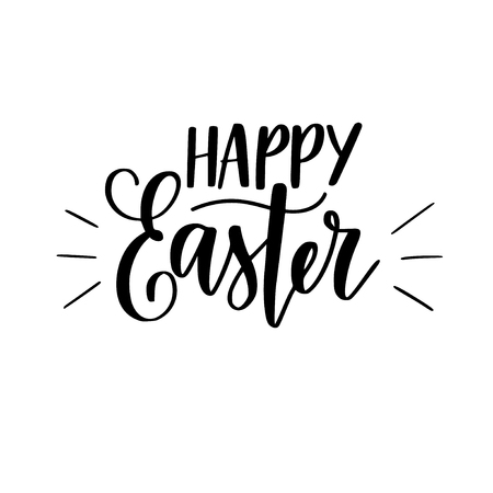 Happy Easter vector digital brush calligraphy Christian spring holiday design for cards and ads