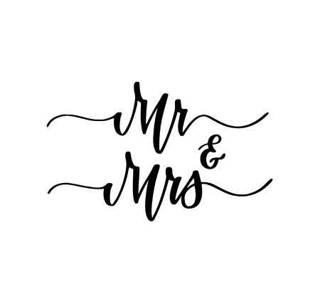 Mr and Mrs wedding engagement party sweet calligraphy design illustration