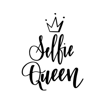 Selfie queen modern calligraphy lettering design for t-shirt prints, phone cases, mugs or posters