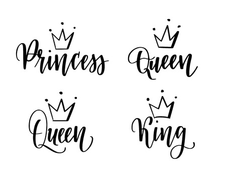 Queen, king, princess vector calligraphy lettering designs set for t-shirt prints, phone cases, mugs or posters