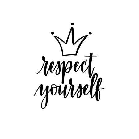 Respect yourself vector motivational inspirational calligraphy design for t-shirt prints, phone cases, mugs or posters